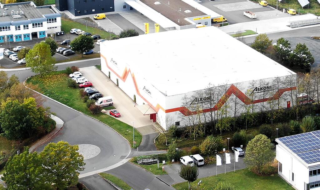Hochregallager ALKONI in der Industriestraße 25, Marburg, Luftaufnahme